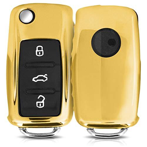 kwmobile Autoschlüssel Hülle für VW Skoda Seat - TPU Schutzhülle Schlüsselhülle Cover für VW Skoda Seat 3-Tasten Autoschlüssel Hochglanz Gold