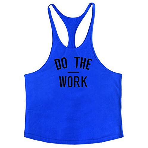 CHZDJSY Fitness Weste Fitnessstudio Kleidung Singulett Y Zurück Tank Top Männer Bodybuilding Ärmellos Do The Work Muscle Tanktop L Blau