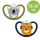 NUK Space Schnuller, kiefergerechte Form, 18-36 Monate, Silikon, Koala & Tiger,...