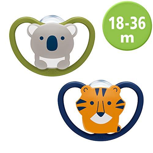 NUK Space Schnuller, kiefergerechte Form, 18-36 Monate, Silikon, Koala & Tiger, 2 Stück