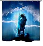 Izielad Animal del lobo Cortina de ducha de la tela Decoración Impermeable del Cuarto de baño