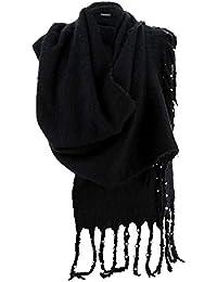 Charleselie94® - Grosse écharpe femme hiver laine perles noir VIENNE NOIR d194d4dc636f