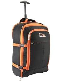 Le Malmo (Bagage cabine de voyage extensible multifonction Cabine Max Malmo 55x40x25cm 44litres) Noir/Orange