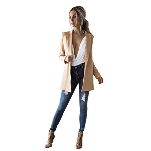 Internet Damen Langer Hülsen Strickjacke beiläufiger Blazer Klage Jacken Mantel (M, khaki) (Blazer Kleid Jacke)