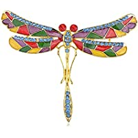 Smalto mosaico colorato dipinto Wing Skinny corpo Spilla a forma di libellula con cristalli