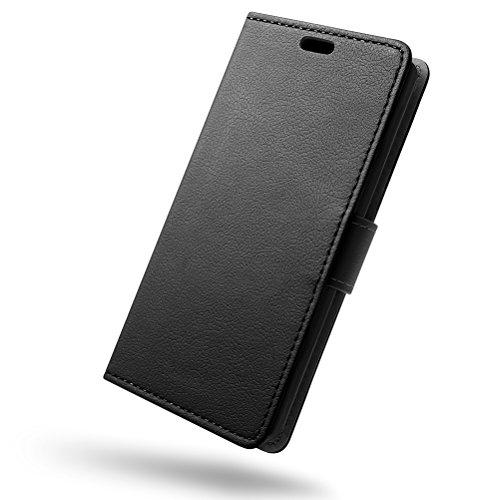 SLEO Wiko View 2 Pro Hülle, PU Leder Case Tasche Schutzhülle Flip Case Wallet im Bookstyle für Wiko View 2 Pro Cover - Schwarz