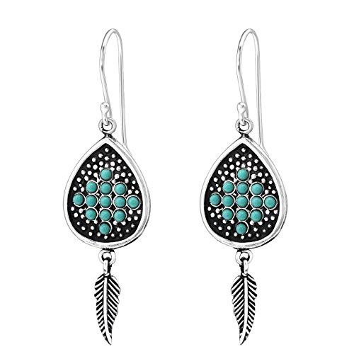Die Rose & Silver Company–Tribal Inspiriert Aufhängen Feder Haken Ohrringe–925Sterling Silber–26Perlen (Kunststoff)–Teil Größe: 13mm x 29mm–rs0769