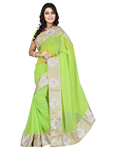 Sarees (Women's Clothing Chifon Saree For Women Latest Design Wear New Collection in Latest With Designer Blouse Free Size Beautiful Green Saree For Women Party Wear Offer Designer Sarees With Blouse Piece)