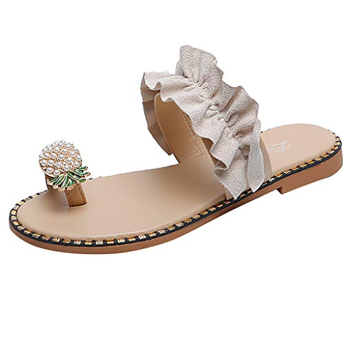 WWricotta Women Girls Pearl Flat Bohemian Style Casual Sandals Slippers Beach Shoes(Beige,43)