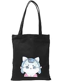 Tradico® Black, Cat A: Canvas Cat Pattern Traveling Shopping Shoulder Strap Tote Trinket Holder Bag Black