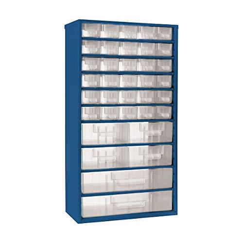 Bloc-tiroirs - h x l 551 x 306 mm, 36 tiroirs - bleu clair - bloc bloc transparent bloc-tiroirs blocs blocs transparents blocs-tiroirs compartiment pour petites pièces compartiments pour petites