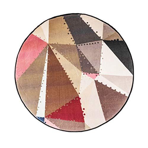 Tingting-Teppiche, Nordic Geometrischer Runder Teppich Wohnzimmer Schlafzimmer Haushalt Couchtisch Computer Drehkissen (Farbe : Rot, größe : 160)