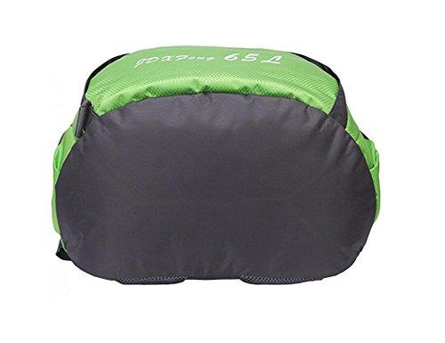 65L impermeabile esterna di grande capienza maschile alpinismo pacchetto femminile borsa da viaggio a tracolla sportiva zaino Studente , green Black