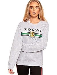 WearAll Women's Long Sleeve Round Neck Tokyo Graphic Slogan Print Top Ladies Sweatshirt 8-14