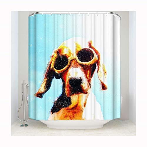 Abellale Badvorhang Waschbar Hund mit Sonnenbrille Polyester Dusch Vorhang 152x183 cm