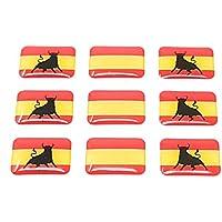 Valmonisport Bandera de España con Toro y Sin Escudo 9 Pegatinas Adhesivo 3D Relieve Resina Vinilo
