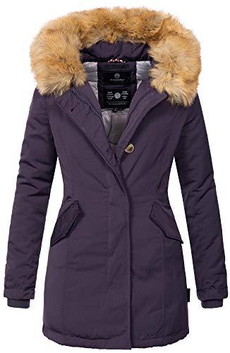 Marikoo Damen Winter Jacke Parka Mantel Winterjacke warm gefüttert B362 [B362-Karmaa-Lila-Gr.S]