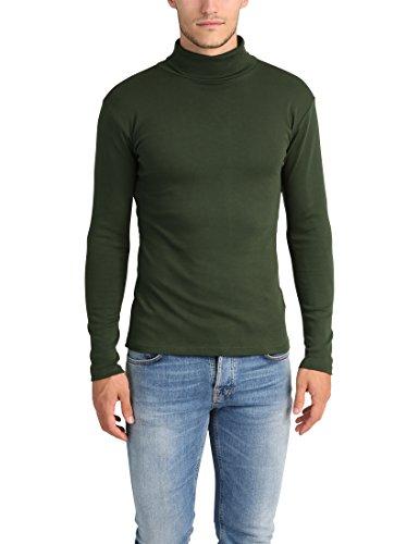 Lower East Herren Slim Fit Rollkragen Shirt, Dunkelgrün, 3XL
