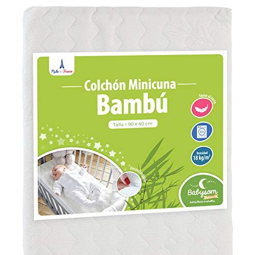 Babysom - Colchón Minicuna bebé - 90 x 40 cm - Funda de Bambú - Transpirable - Altura 5 cm - Desenfundable - Garantía 2 años