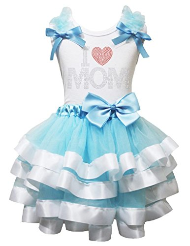 Rhinestone I Love MOM White Top Light Blue Satin Trim Petal Skirt Girl Nb-8y (4-5 Years) (Weißen Kleid Shirt Trim, Satin)
