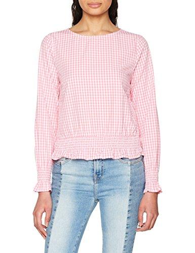 ONLY Damen onlMAIA L/S Smock TOP Gingham WVN Bluse, Mehrfarbig (Cloud Dancer Checks: Begonia), 36 -