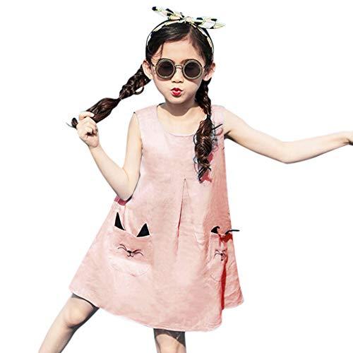 Kitty Kostüm Prinzessin Kind - syeytx Mädchen Kleider Ärmellose Cartoon Kitty Tasche Prinzessin Kleid Outfits Set Teen Kinder Mädchen Lose Baumwollmischung Rock Freizeitkleidung