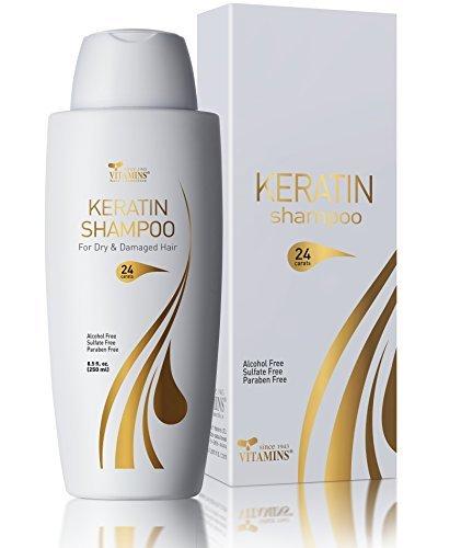 Vitamins Keratin Shampoo Trockene Haare - Feuchtigkeitsshampoo Kopfhautpflege Arganöl Keratin Treatment für trockenes kaputtes geschädigtes Haar -