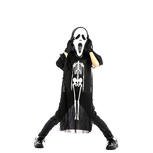Newhaa Halloween Kleidung Skeleton Skull Kostüme und Scary Mask Ghost Cosplay Roben Set Maskerade für Kinder Kids Black(01) (Ghost Robe Kostüm)