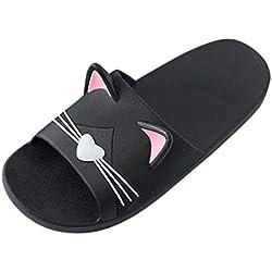 Zapatillas de casa para Hombre y Mujer en casa Zapatillas de Dibujos Animados con Suelo de Gato Sandalias de Playa