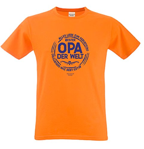 Geburtstagsgeschenk Opa Großvater :-: Motiv Kurzarm T-Shirt mit Geburtstagsaufdruck :-: Bester Opa der Welt :-: auch in Übergrößen 3XL 4XL 5XL :-: Farbe: orange Orange