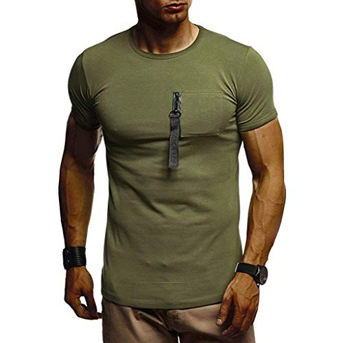 JKLEUTRW T-Shirt Herren, Mode Männer Kurz Patchwork Ärmel Sportshirt Rundhalsausschnitt Muscle Volltonfarbe Basic Top Slim Fit Bodybuilding Quick Dry KurzäRmliges -
