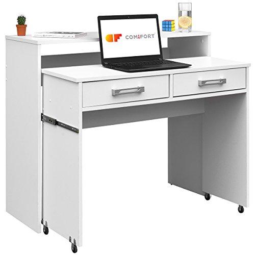 COMIFORT Mesa de Ordenador Extensible Escritorio Estudio Mesa Consola (Blanco)