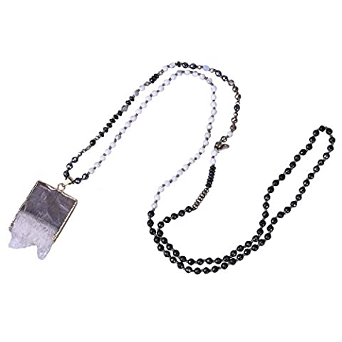 KELITCH Natural Black White Agate Faceted Beads Chain Necklace with Raw Rough Crystal Pendant