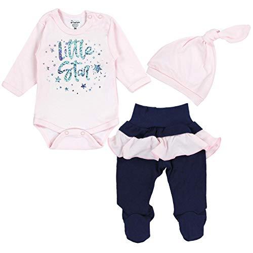TupTam Baby Mädchen Bekleidungsset Little Star 3tlg., Farbe: Hellrosa / Dunkelblau, Größe: 62