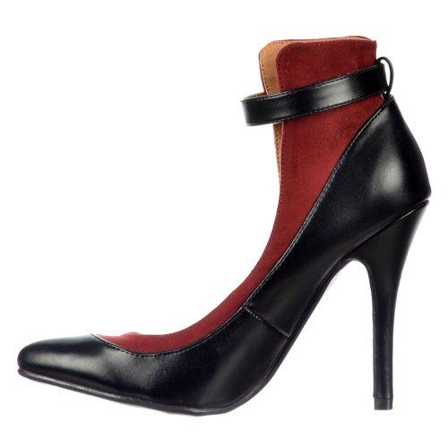 Delle donne delle signore Dolcis schienale alto cinturino alla caviglia - Mid Heels Toe completo - nero / Borgogna, nudo / nero Black