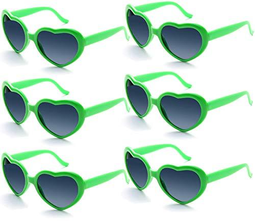 Fsmiling 6 Stück Neon Farbige Herz Sonnenbrille für Kinder Mädchen Damen Party und Festival ( Grün Brille)