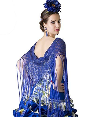 Mantón de encaje con flecos largos para la danza flamenco o sevillanas (Azul marino)