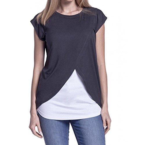 T-Shirt Femmes Été Confortable Casual Manches Courtes, Chemise D'Allaitement de Maternité des Femmes Capuchon Double Couche Blouse T-Shirt Ba Zha Hei (XL, Gris foncé)
