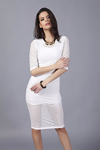 Frauen Chiffon halbe Huelsen transparentem Tuell Striped Bodycon duennes Kleid S XL NEU Weiß