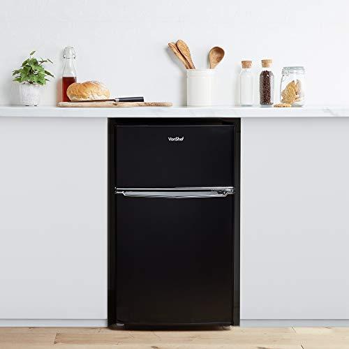 41nbHshGf5L. SS500  - VonShef 85L Freestanding Under Counter Fridge Freezer With Reversible Door, Adjustable Temperature Control and Internal…