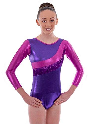 Deluxe Metallic Pink & Velour Purple Stripe Glittered Stars Girls Gymnastic Sleeved Leotard (11-13 Years) (Metallic-velour)
