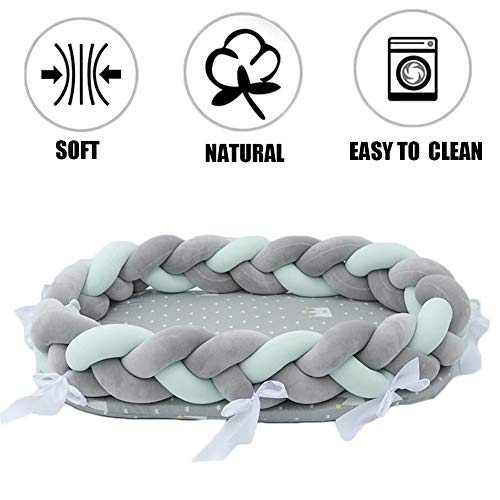 FZYQY Bettschlange geflochten,Baby Nestchen Kinderbett Stoßstange Weben Bettumrandung Kantenschutz Kopfschutz für Babybett Bettausstattung,Gray+Green -