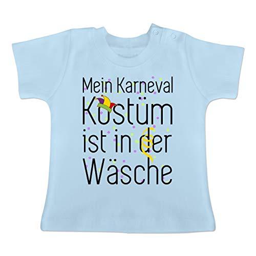 Anlässe Baby - Mein Karneval Kostüm ist in der Wäsche - 1-3 Monate - Babyblau - BZ02 - Baby T-Shirt Kurzarm (2 Kostüme In 1)