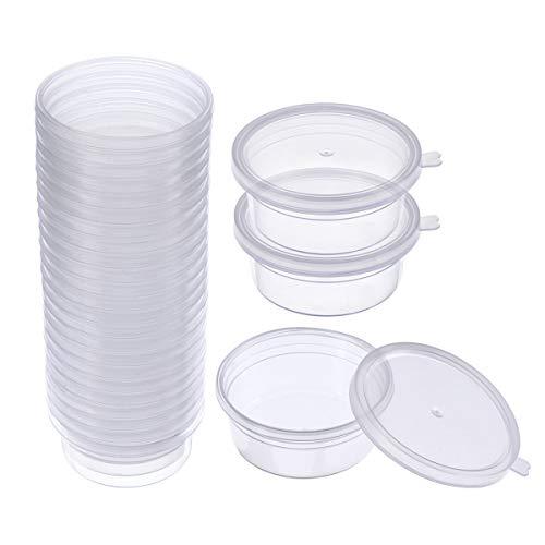 Swallowzy Slime Aufbewahrungsbehälter, 24 Pack Floam Beads Behälter aus Schleim auslaufsichere klarem Kunststoff Aufbewahrungsschleim mit Deckel (Kleine Behälter Mit Deckel)
