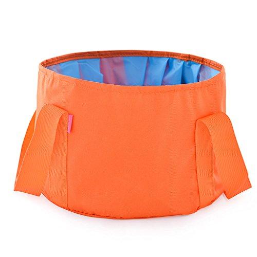 outdoor product Bassin Pliant matériel de Camping en Plein air Portable lavabo lavabo à Pied de pêche Ultra-léger Multi-Fonctionnelle (Orange) (Envoyer Le même Sac)