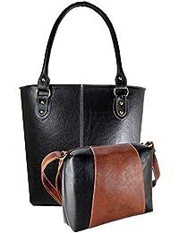 Fargo Fine Line PU Leather Women's & Girl's Shoulder Handbag & Sling Bag Combo Of 2 (Black,Brown-Black_FGO-066)