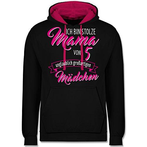 Die Stolze Mama Womens Pink T-shirt (Shirtracer Muttertag - Ich Bin stolze Mama von 5 unglaublich großartigen Mädchen - L - Schwarz/Fuchsia - JH003 - Kontrast Hoodie)