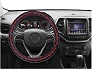 NIKAVI Microfiber PU Leather Skidproof Steering Wheel Cover, Universal Fits 38cm/15 On Most Car, SUV, Van &