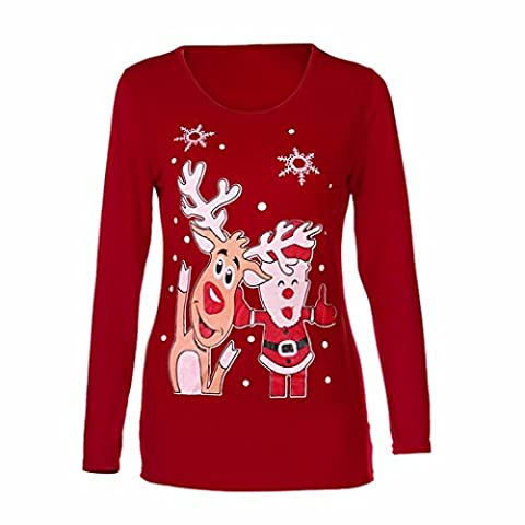 Hot. Yanhoo 2017Femme Automne et Hiver de Noël Elk Impression manches longues Chemisier Chemise, femme, Red