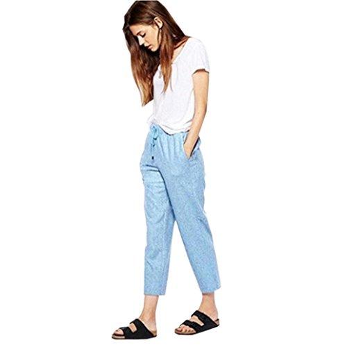 Dorical Damen Plus Size Baumwolle Leinen Elastische Taille Kordelzug Solid Knöchellänge Hosen Hosen - Ausverkauf!(EU 12/CN 3XL, Blau) - Gabbana Kordelzug
